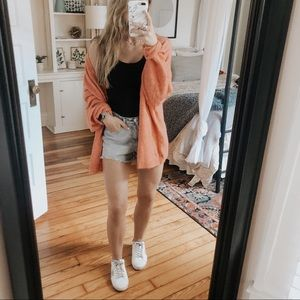 H&M Coral Chunky Oversized Knit Cardigan